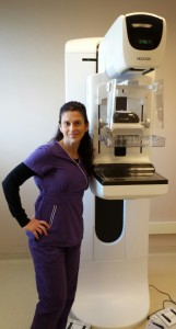 Mammography technologist Mary Brechbiel, RT (R), (M), (MR) with one of our new 3D mammography units at our Wake Forest Mammography office